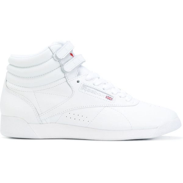 Reebok Freestyle hi-top sneakers (310.140 COP) ❤ liked on Polyvore featuring shoes, sneakers, white, white sneakers, white high top shoes, reebok trainers, high top shoes and reebok shoes