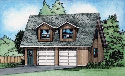 Two stall garage with a second floor that can be used as for 32x40 garage plans