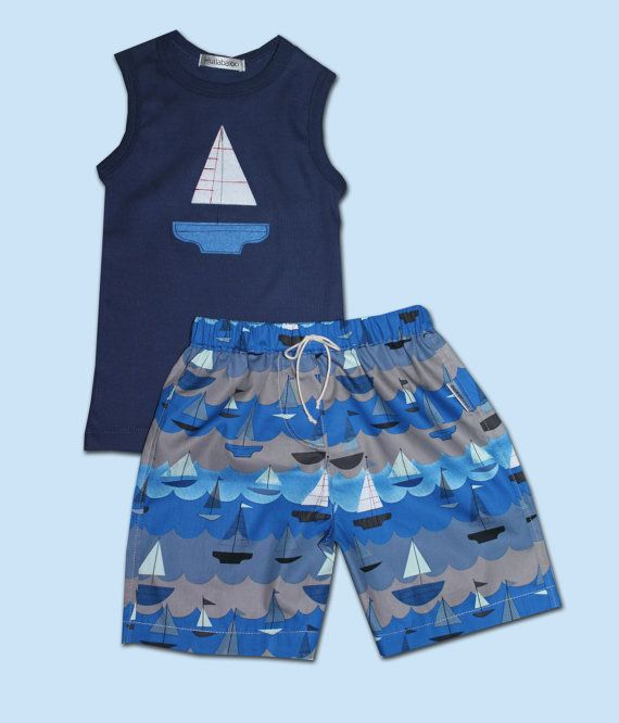 Retro Boat Print Shorts & Singlet Set by HullabalooKids on Etsy