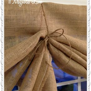 tutorial how to make a no sew diy burlap window valances, crafts, home decor, window treatments, windows, Fold the burlap up with like a fan and tie at either side with jute twine