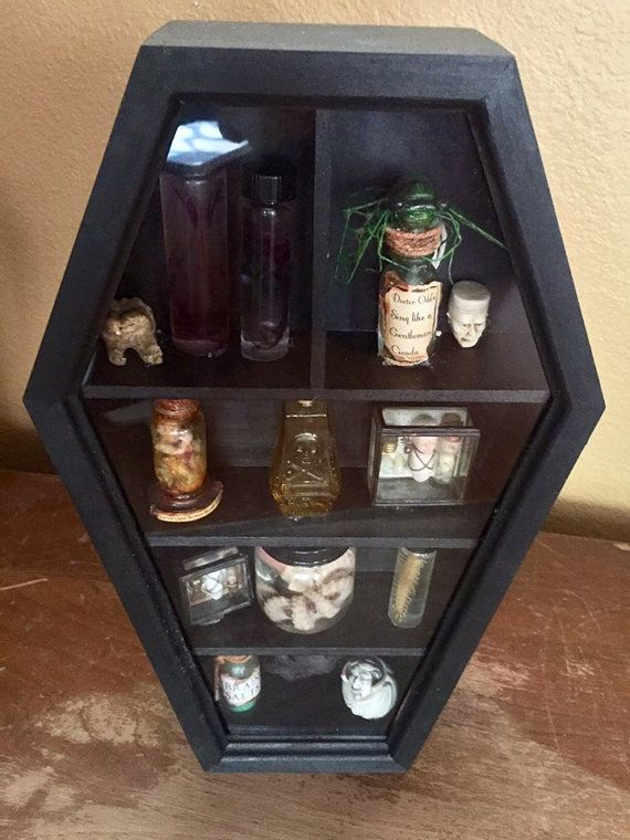 Coffin Shaped Curio Cabinet Unique Wall Curio By