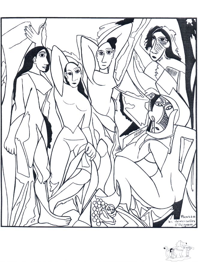 Les Demoiselles d'Avignon, Pablo Picasso: This site makes you sit through a short ad before loading the coloring page.