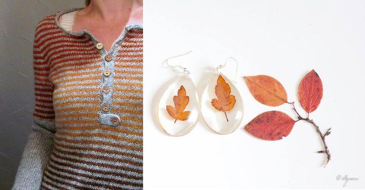 Orange sweater and fall leaves earrings #orange #fall #style #earrings #leaves  Resin earrings from https://www.etsy.com/shop/Agnera