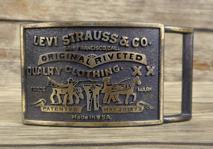 Levi Strauss Belt Buckle Vintage DIstressed Jeans Horses Country Western Riveted #Unbranded