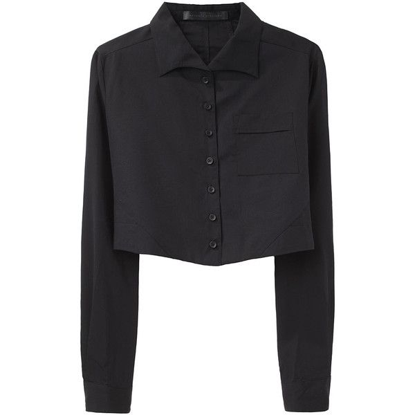 Proenza Schouler Cropped Button Front Shirt ❤ liked on Polyvore