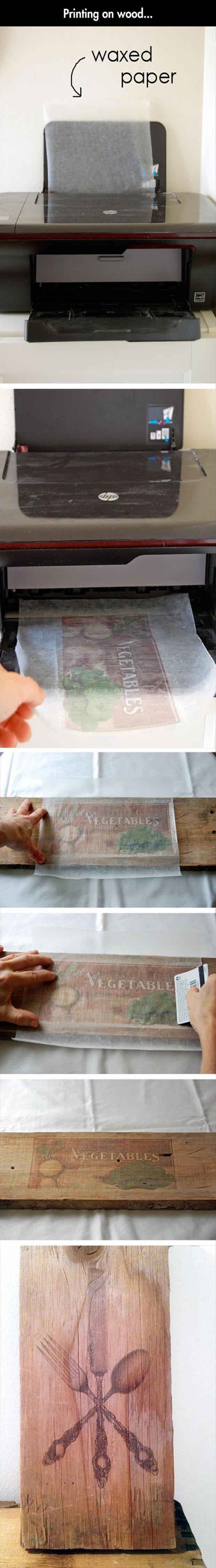 comment imprimer sur du bois astuces du quotidien pinterest bois. Black Bedroom Furniture Sets. Home Design Ideas