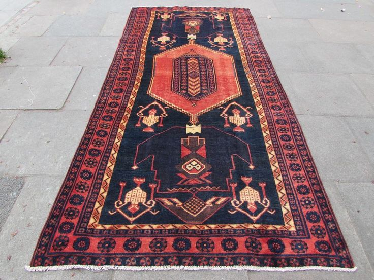 Old Hand Made Traditional Persian Rug Oriental Rug Wool Blue Red Rug 315x151cm