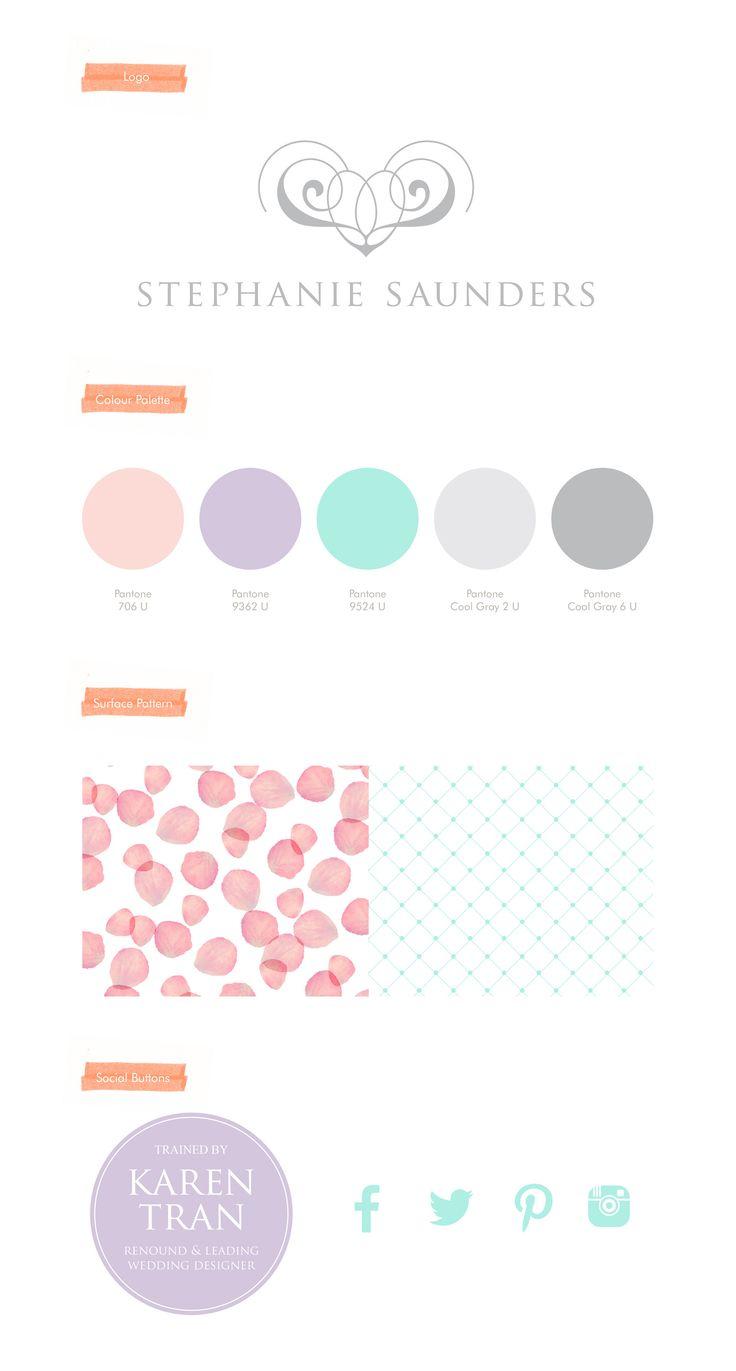 Stephanie Saunders Flowers, Luxury Floral Design, Re-Brand, Branding, Logo, Colour Palette, Surface Pattern, Social Icons, Social Buttons. Leaff Design, Worcester UK.