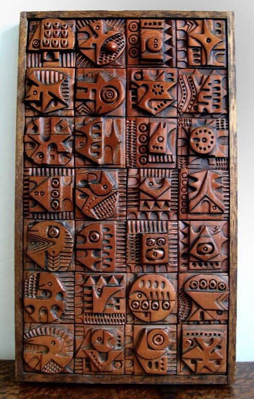Evelyn Ackerman modernist wood wall panel.