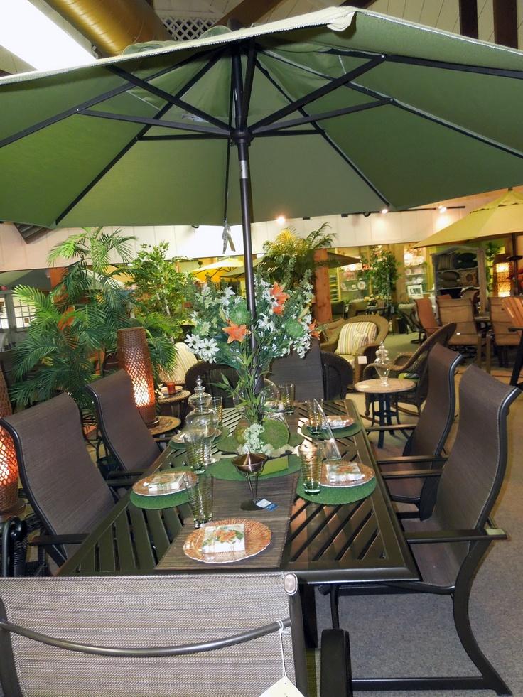 "San Marino Patio Furniture: Winston Key West Sling Collection. 84"" Rectangle Slat Top"
