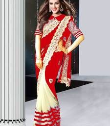 Buy red and white embroidered georgette saree with blouse party-wear-saree online