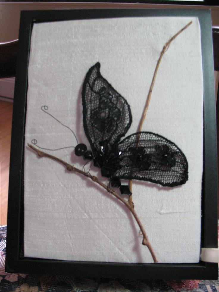 Bobbin lace  Black Butterfly Original design by Cheryl Ford 2016