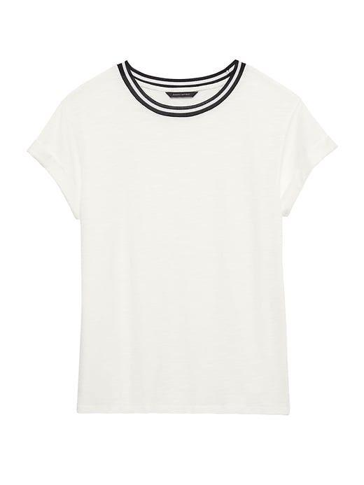76120644899ffe Banana Republic Womens Cotton-Modal Roll-Cuff Crew-Neck T-Shirt White