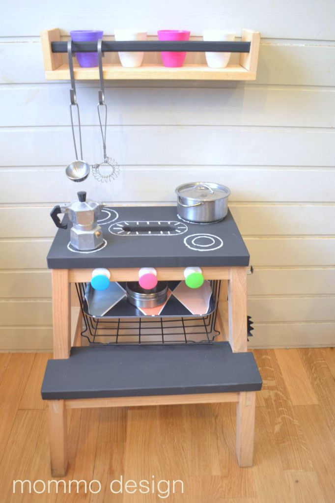 play kitchen made from bekvam stool on IKEA hackers