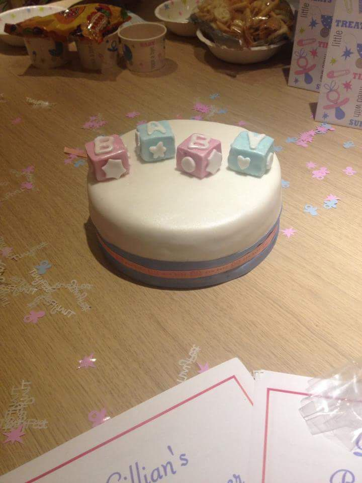 Baby shower cake. Pink and blue. Simple. Baby blocks.