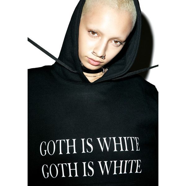 W.I.A Goth Is White Hoodie ($44) ❤ liked on Polyvore featuring tops, hoodies, hoodie pullover, white hoodies, white pullover, white hooded sweatshirt and gothic hoodie