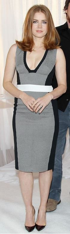 Who made  Amy Adams' gray print dress that she wore in New York on December 8, 2013?