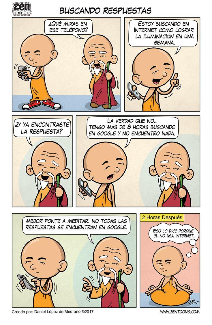 ZEN TOONS 006: Buscando Respuestas. Historieta creada por: Daniel Lopez de Medrano. Episodio basado en un cuento original del autor. #zentoons #webcomics #zencomics #cuentoszen #historiaszen #zenpencil #espiritualidad #zen #budismo
