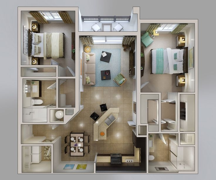 12 best 2 bedroom 3d apartment images on pinterest 2 for Floor plan design for 2 bedroom flat