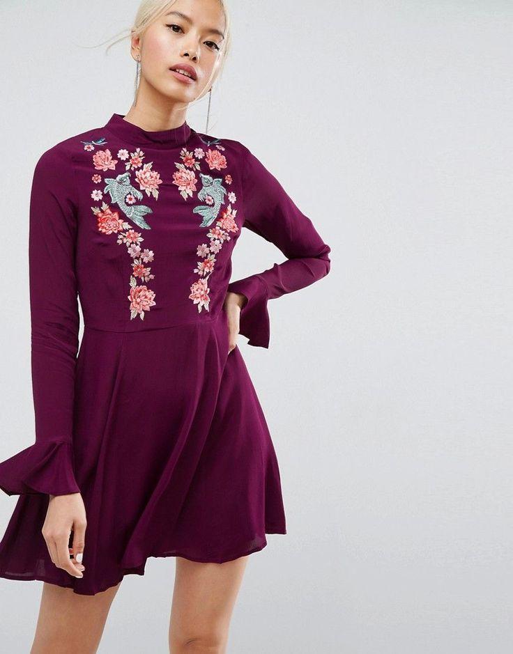 ASOS Embroidered Trumpet Sleeve Mini Dress - Purple