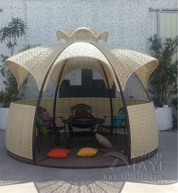 Dia 3.5 metro de acero hierro gazebos gazebos pabellón al aire libre muebles de jardín patio rota DEL PE al aire libre de lujo