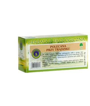 Herbata naturalna o działaniu wspomagającym metabolizm. Działanie ziół w niej zawartych pozytywnie wpływa na kondycję i wygląd skóry.