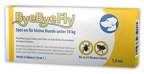 """Aus der Kategorie Tropfen  gibt es, zum Preis von EUR 16,95  <p>ByeByeFly® Spot on mit dem natürlichen Wirkstoff """"Pyrethrum"""" aus der Chrysantheme ist ein hochwirksames Mittel zur äußerlichen Anwendung bei Hunden unter 10 kg.</p><p>Durch die repellierende Wirkung bietet ByeByeFly® Spot on zuverlässigen, natürlichen und lang anhaltenden Schutz vor Zecken (Rhipicephalus sanguineus, Ixodes ricinus) und Flöhen (Ctenocephalidesfelis, Ctenocephalides canis).</p><b>Anwendung</b><br /><p>Zum…"""