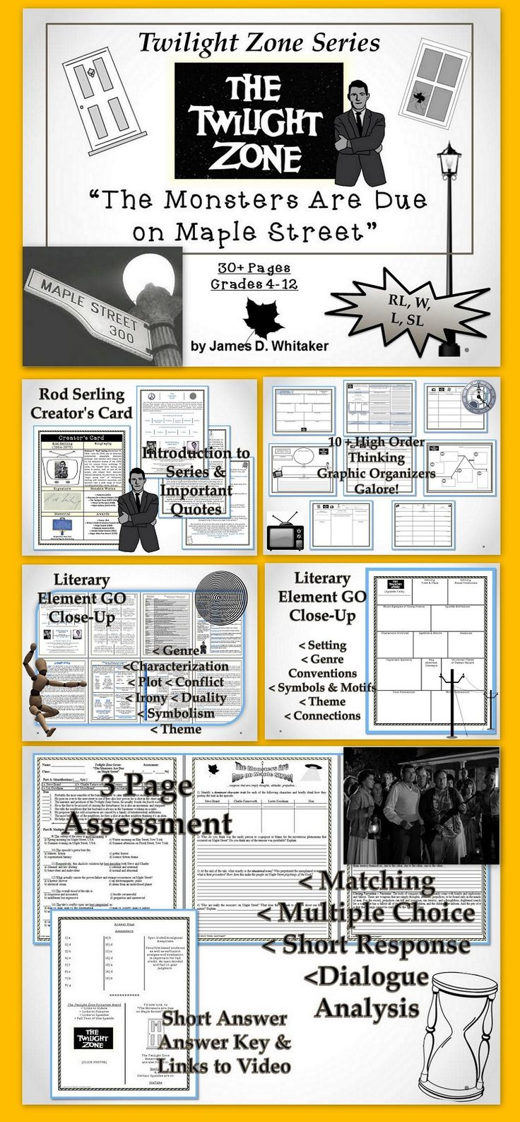 "Teach your students the Elements of Literature with the Classic Television Series--""The Twilight Zone""! Start with the definitive tale about irrational fear, scapegoating, and the hysteria of the mob mentality--""The Monsters Are Due on Maple Street""! 30+ Pages of Common Core Activities!"