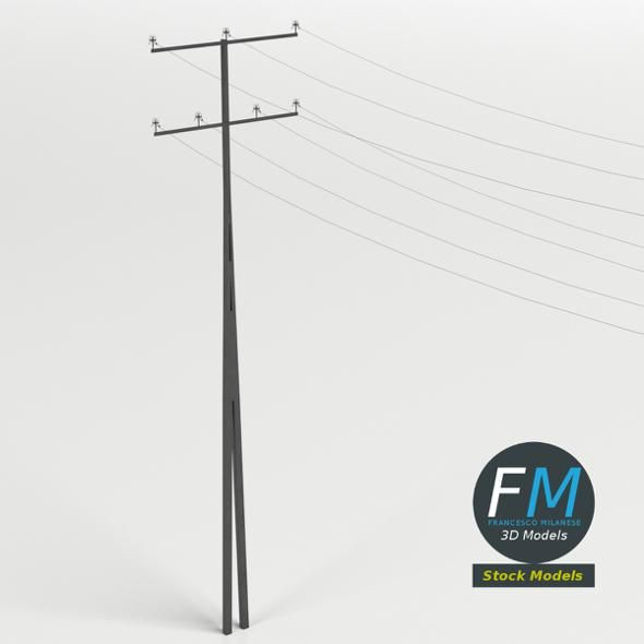 Steel utility pole  3D model and object for city modelling  #3D