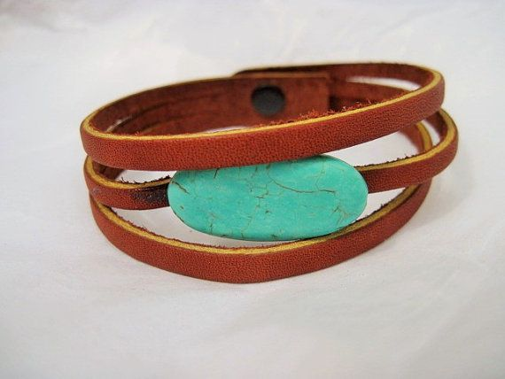 gemstone leather bracelet-stripped leather bracelet-brown leather-wrap leather-wrist band