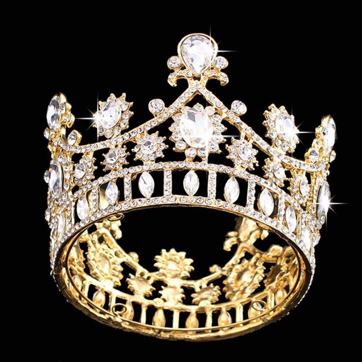 Bride Gold Princess Queen Crystal Rhinestone Tiara Crown Wedding Bridal Prom Party Headband