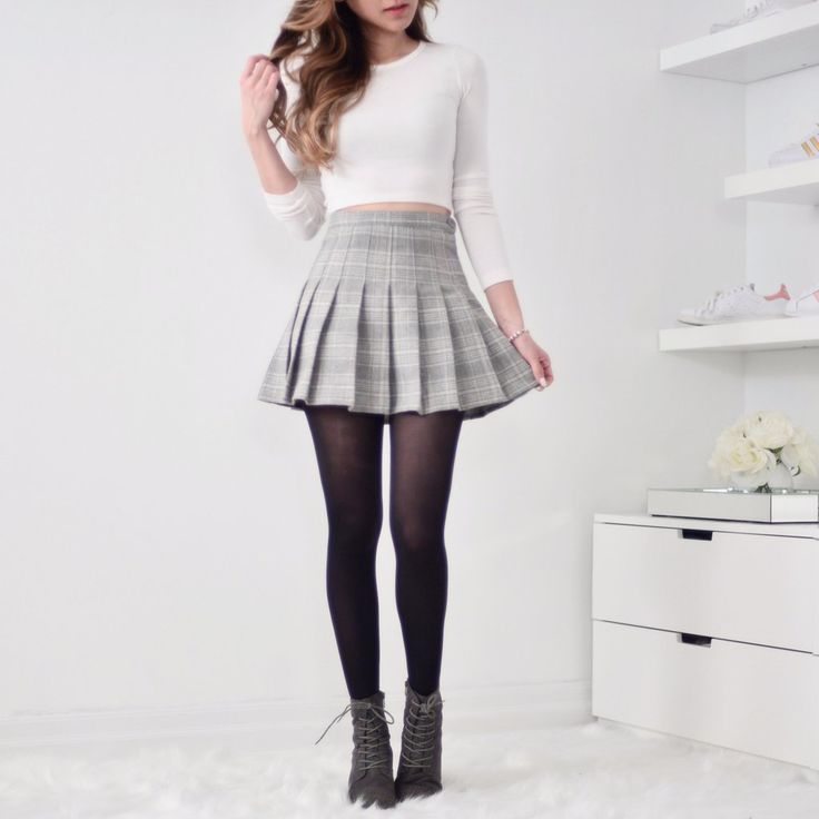 Plaid Layered Pleated Skirt - Grey