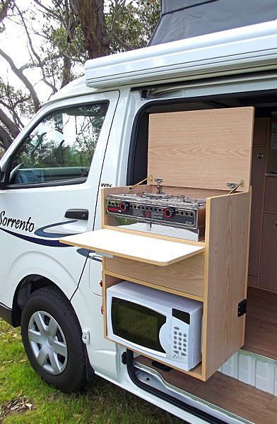 The stove is on a bracket which can swing outside. This is great for avoiding cooking fumes in your van and also means you can cook inside in bad weather or late at night.: