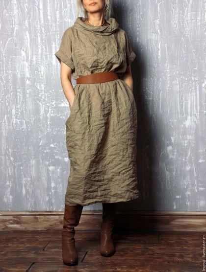 Linen dress / Платья ручной работы. Ярмарка Мастеров - ручная работа. Купить Льняное платье. Handmade. Однотонный, Свободный стиль, хаки