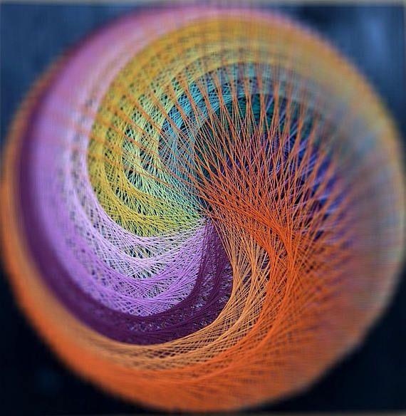 String Art Fire Spiral Mandala Wall Art Zen mystical spirituality art wood decor sacred 3D Geometry colorful Home Office Yoga Center Hotels