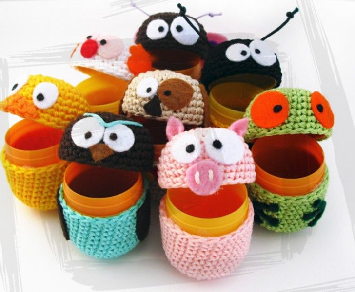 amigurmi virka kinder egg gratis monster handarbete inspiration figurer