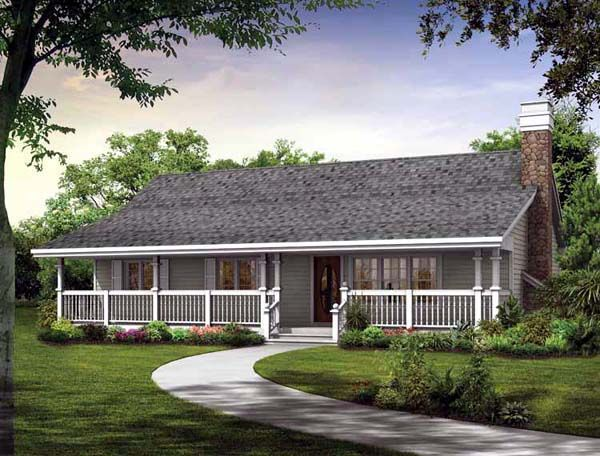 The most striking thing about this simple one story home for Single roof line house plans