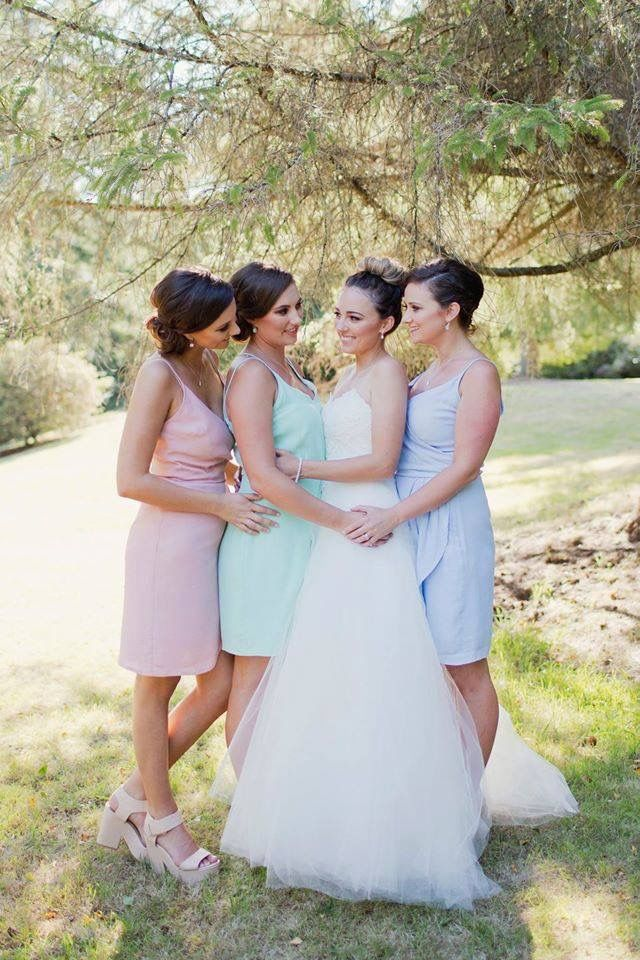 Babin Bridesmaids in Dresses from The Stockroom.  Cross over Dress in Mint Viscose and 2 Cross over top Dresses in Ambrosia and Chlorine Viscose