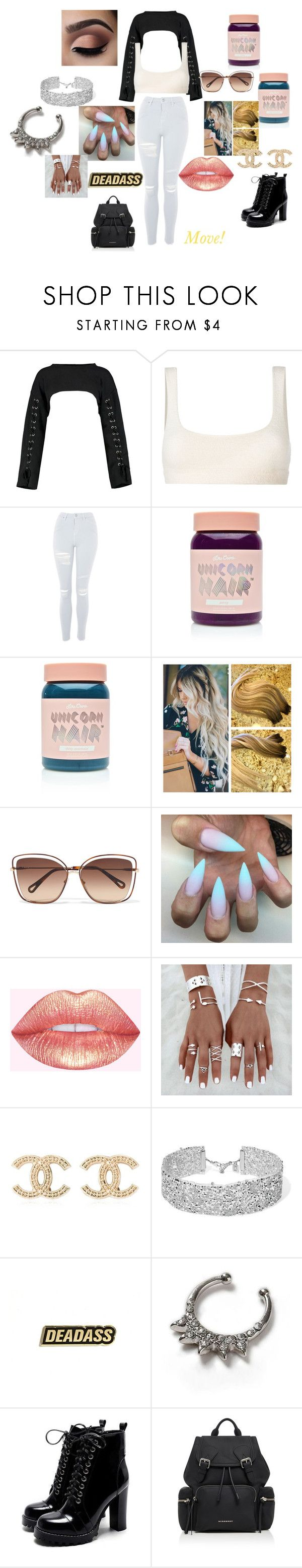 """""""Move!"""" by calpalclifford221 on Polyvore featuring Boohoo, Yeezy by Kanye West, Topshop, Lime Crime, Chloé, Chanel, DANNIJO and Burberry"""