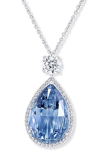 Graff pendant, set with a 10.47ct Fancy Vivid Blue Internally Flawless briolette diamond and brilliant-cut white diamonds.