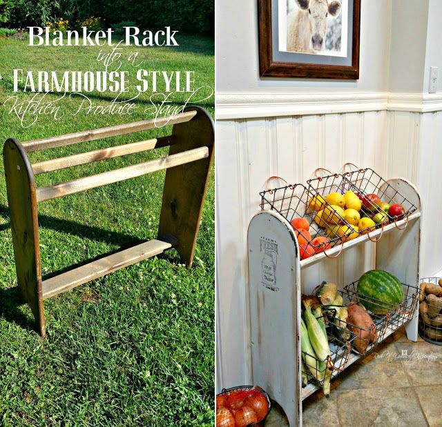 How many times have you seen a blanket stand at the flea markets, thrift stores and garage sales and walked right past them? This blanket stand turned into a Farmhouse Veggie Stand is awesome!