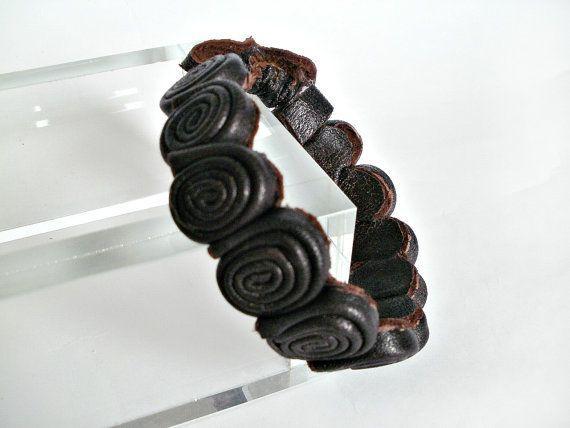 Bracelet leather boho style bracelet Chain womens by KnittedJoy1