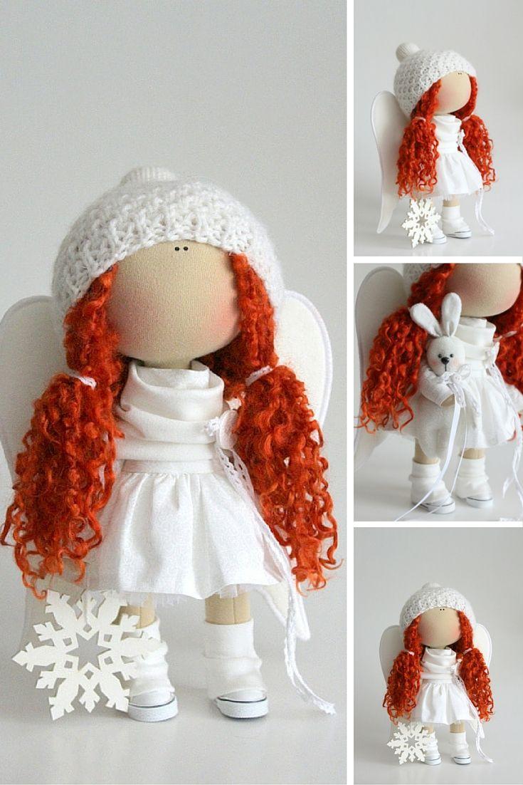 Winter Angel doll handmade Cute doll Tilda doll white red color Soft doll Cloth…