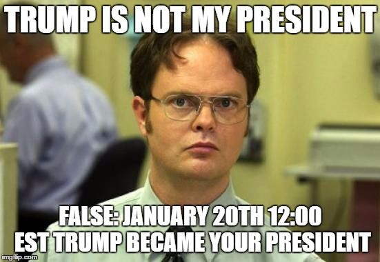 Dwight Schrute | TRUMP IS NOT MY PRESIDENT FALSE: JANUARY 20TH 12:00 EST TRUMP BECAME YOUR PRESIDENT | image tagged in memes,dwight schrute | made w/ Imgflip meme maker