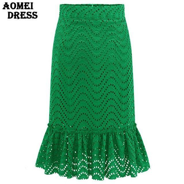 Women Lace Green Knee Length High Waist Skirts Spring Ladies Jupe Black Workwear Clothing Vintage Ruffles Faldas