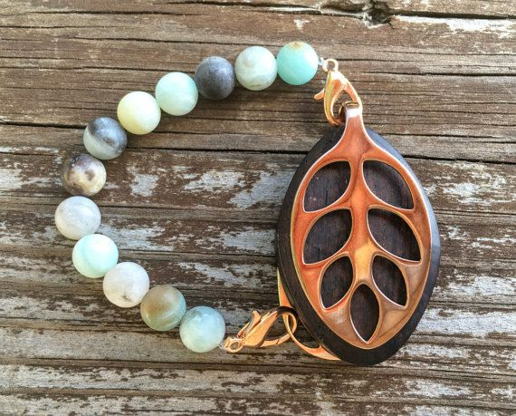 Amazonite beaded Bracelet for the Rose Gold by LadyLeafCo on Etsy