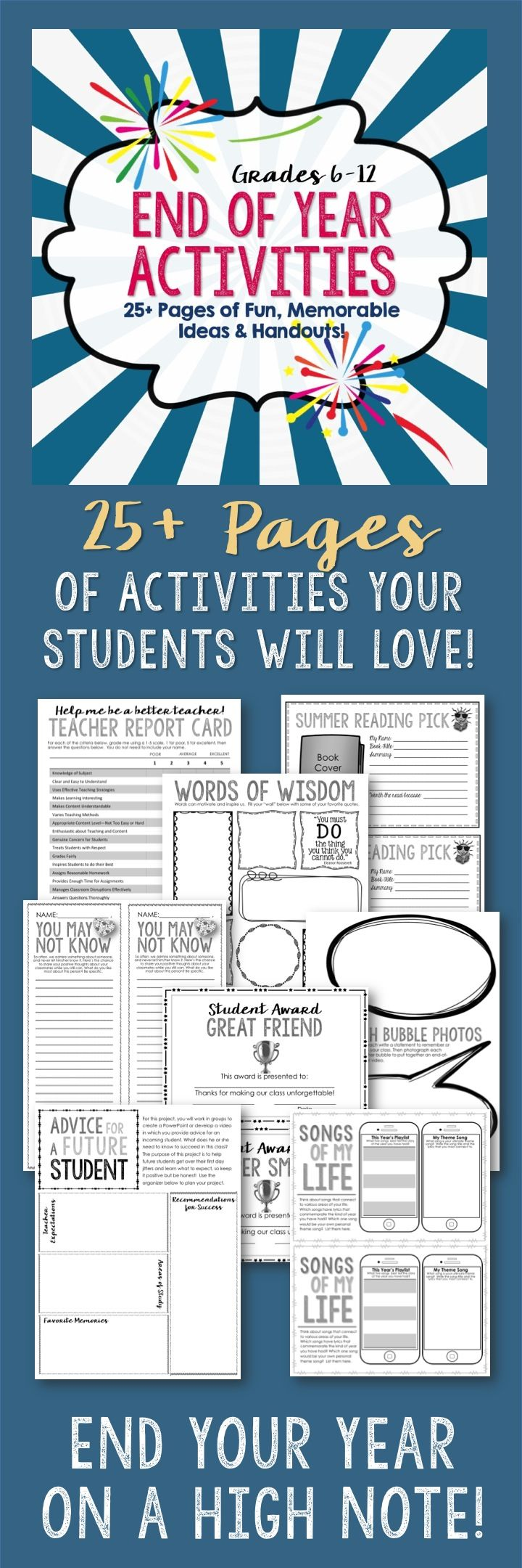 End Of Year Fun Worksheets : End of year activities pages fun memorable