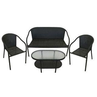 4 Piece Black Resin Wicker Patio Furniture Set   Loveseat, 2 Chairs U0026 Glass