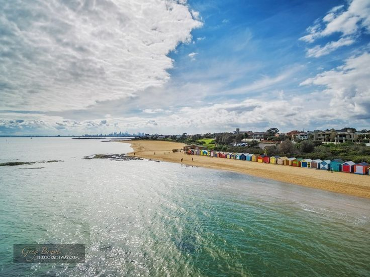Aerial view of Brighton Beach bathing huts on a bright sunny day. Melbourne, Victoria, Australia
