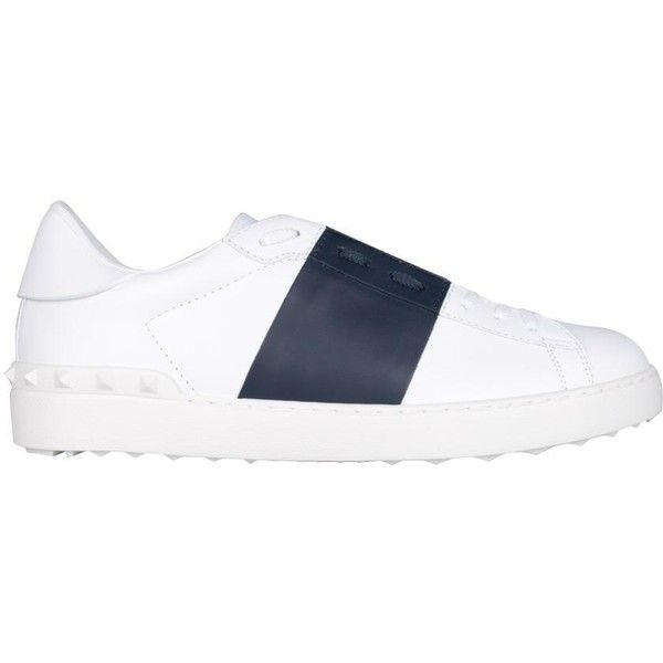Valentino Garavani White leather and Marine open sneakers ($615) ❤ liked on Polyvore featuring men's fashion, men's shoes, men's sneakers, blu, mens white leather shoes, valentino mens shoes, mens white sneakers, mens studded shoes and valentino mens sneakers